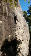 More better 5.10b.  Climb follows right of black streak.  SG Onsight 10/19/13.