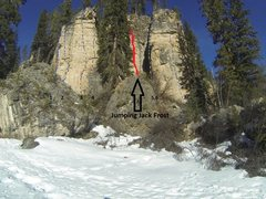 Rock Climbing Photo: The red line shows the location of what is probabl...