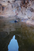 Rock Climbing Photo: Free bath! Last big swim to get out of the canyon....