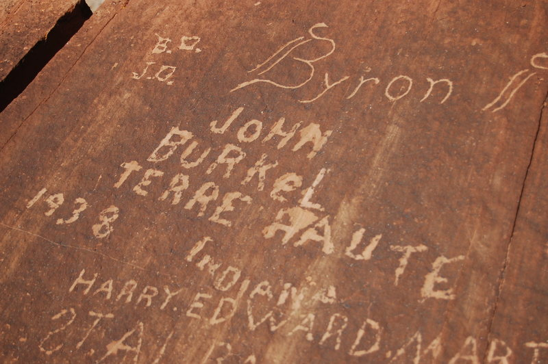 Cool history scattered throughout the Swell. Cowboy signatures in Pine Canyon pictured here.