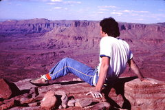 Rock Climbing Photo: Probably '75.  Top of Castleton Tower via the Kor ...