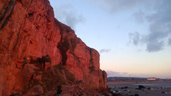 Rock Climbing Photo: Brean in the evening light. A climber having one l...