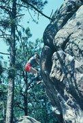 Rock Climbing Photo: Anne Carrier bouldering on Flagstaff, 1981.