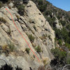 Topo for Labrador Cupcakes, on the Fun in the Sun Wall, Rattlesnake Canyon.
