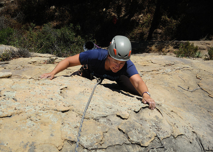 Nicole nears the top of Cupcakes & Champagne, in Rattlesnake Canyon.