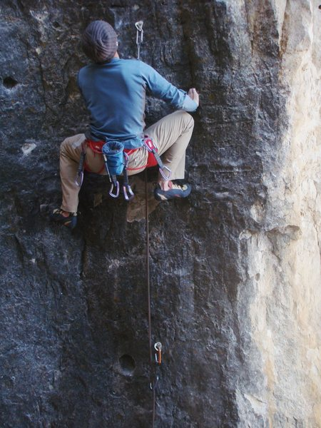 Rock Climbing Photo: Lee freezes his fingers on the huge holds of The S...