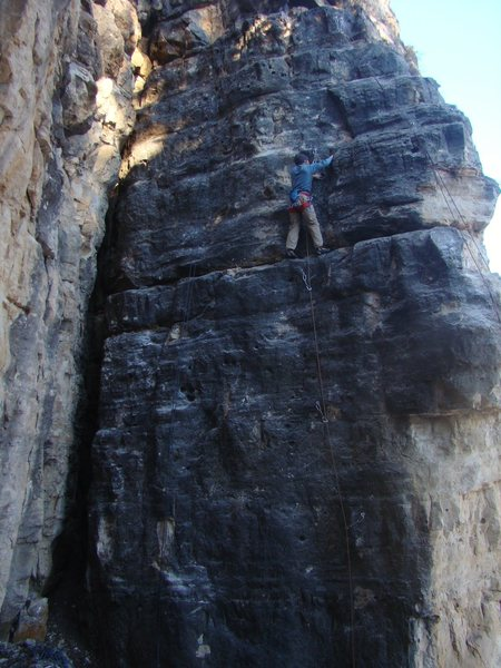 The Shivering Sphincter. A good winter climb for the tough and shady summer time treat.