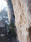 Rock Climbing Photo: The opening moves of Jumping Jack Frost, 5.11c/d