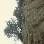 Rock Climbing Photo: Traversed in from the gully to set bolts for TR of...