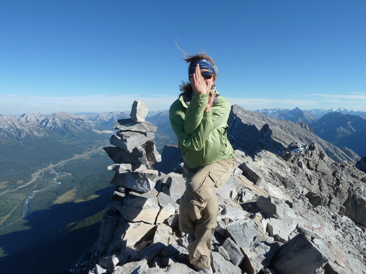 Yoga on Mount Rundel in the Canadian Rockies