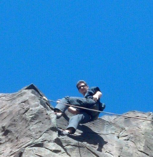 Rock Climbing Photo: Joel at top of some climb at black cliffs, ID