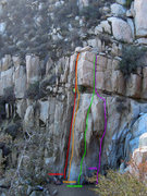 Rock Climbing Photo: Routes on face left of falls