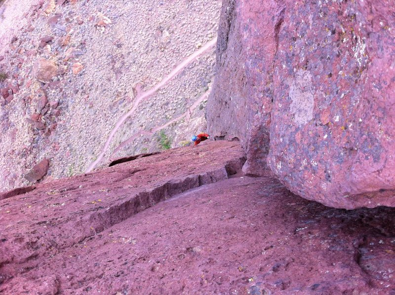 Rock Climbing Photo: Looking down the final pitch from our October Smit...