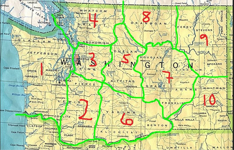 1- Coastal / Olympics<br> 2- Southwestern Cascades / Rainier<br> 3- Central Western Cascades / Index + North Bend<br> 4- Northwestern / N.Cascades + Darrington + Mt. Erie<br> 5- Central Eastern Cascades / Leavenworth + Wenatchee Area<br> 6- Southeastern Cascades / Tieton<br> 7- Central WA / Frenchman's Coulee + Banks Lake + Potholes<br> 8- Okanogan / <br> 9- Northeastern WA / Spokane Area + Marcus + China Bend<br> 10- Southeastern WA / Blue Mountains + Snake River