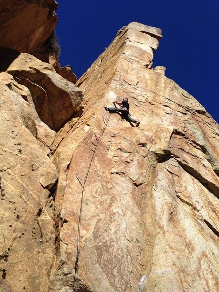 Col Mustard cruising Totem Pile (5.11b) on a not so crisp Fall day.