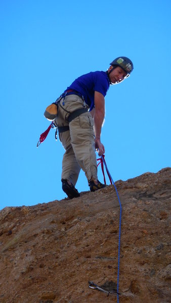 "Rock Climbing Photo: Topping out on ""Exhilleration."""