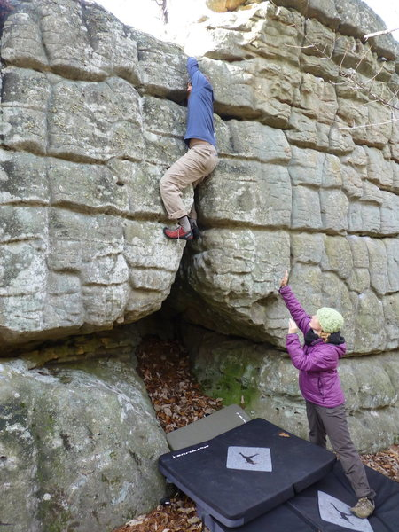 I was initially criticized for the use of face holds on the off width.  My wife demanded I climb it again with better style.