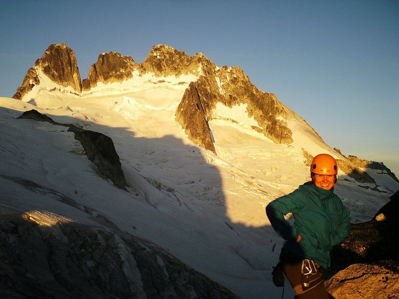 On top of the col, and continuing the sunrise approach for the Kain Route on the Bugaboo Spire