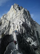 Rock Climbing Photo: Traversing the pitch below the gendarme, Kain Rout...