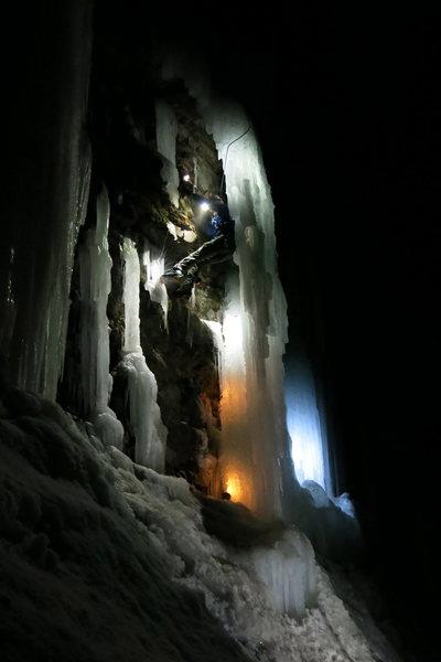 Night climbing in Bear Creek.