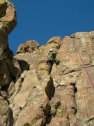 Rock Climbing Photo: Jeroen just past the crux.  Note, the loose block ...