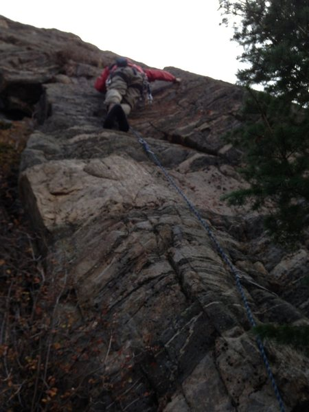 Rock Climbing Photo: Tim Gale about to exit the corner and step  up to ...