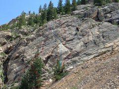 Rock Climbing Photo: 1. Caucasian Sandal, 5.7. 2. Joan's Solitude, 5.8....