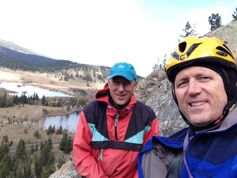 Tim Gale & Scott Allen during an <br> Autumn outing to Eldora Summer Slab from the top anchor belay ledge.