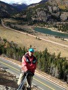 Rock Climbing Photo: Tim Gale rapping off Eldora Summer Slab (in the Fa...
