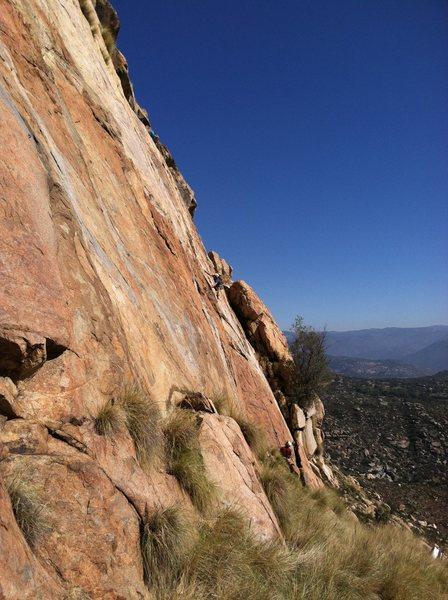 Rock Climbing Photo: Chris Lane leading Leonids.