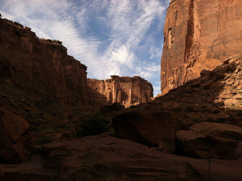 Up canyon.