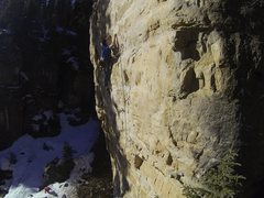 Rock Climbing Photo: Mike fights off the attack of Polar Baird, 5.12c  ...