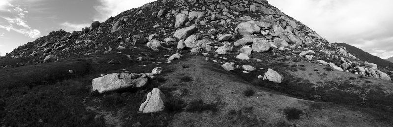 Panoramic of the Mystic Boulders as seen from the East side of boulders.