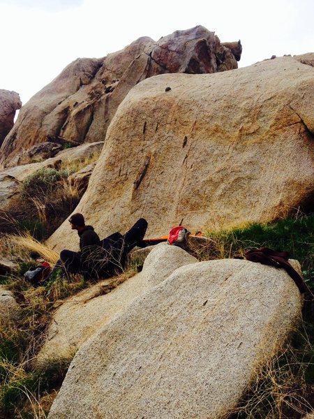 Rock Climbing Photo: Erik preparing for his send of Black Spots!