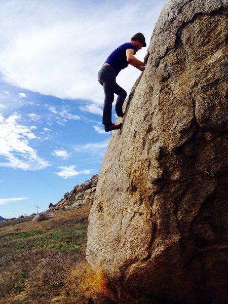 Rock Climbing Photo: Erik Davis on the Savanna Boulder.