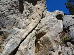 Rock Climbing Photo: Dirty crack right of Bolts and Hoes.  Dana thought...