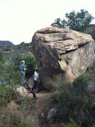 Rock Climbing Photo: Full shot of the boulder. Frigidaire starts on the...