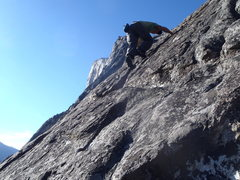 Someone free soloing the 4th(?) pitch as we were inching up the same face on gear. Inspiring :0