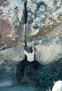 Rock Climbing Photo: Anne Carrier, bouldering start of Wallaby Crack, 1...