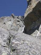 Rock Climbing Photo: Turning the corner around the Prow.