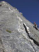 Rock Climbing Photo: Pitch 8 of 9 slab traverse.
