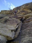Rock Climbing Photo: Here is a closeup of the route.  The route is a li...