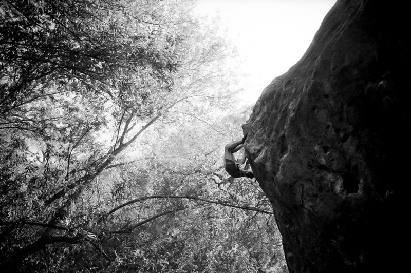 Rock Climbing Photo: Jason almost at the top of Mr. Big. Shot from the ...