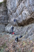Rock Climbing Photo: Blue groove area with Buddy the dog