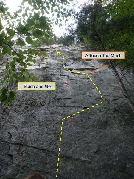 Touch And Go in yellow; A Touch Too Much (in orange) shares the first 15 ft or so but diverges after the 2nd bolt.