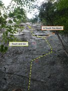 Rock Climbing Photo: Touch And Go in yellow; A Touch Too Much (in orang...