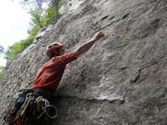 Rock Climbing Photo: First ascent of Touch and Go.  Placing the first b...