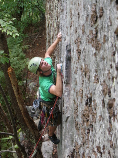 Zak Roper working into the crux on Touch and Go.