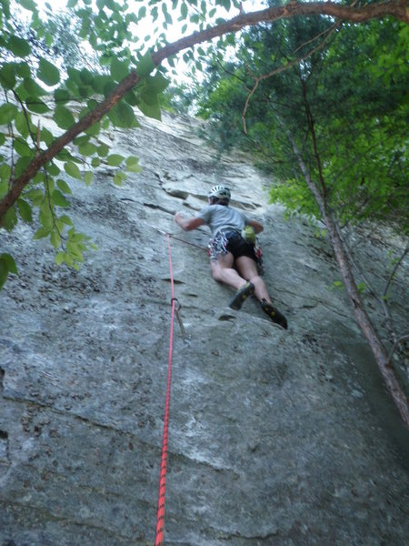 DJ Shalvey on the 2nd ascent of Touch and Go.
