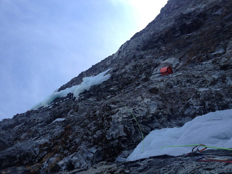 The steep second pitch.